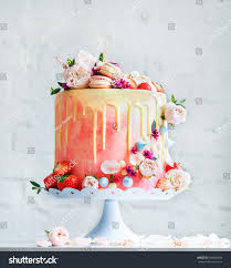wedding cake flowers macarons blueberries stock photo 504960943