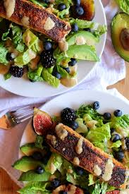 broiled salmon and fig salad with blackberries and green goddess