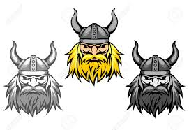 agressive viking warriors for mascot or tattoo design royalty free