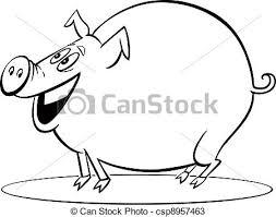 vectors cartoon pig coloring coloring illustration