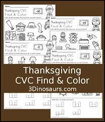cvc find color thanksgiving 3 dinosaurs