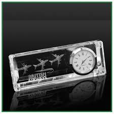 horloge sur le bureau horloge en verre de bureau pendulette personnalisée par gravure
