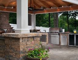 outdoor kitchen designs with pool outdoor living kitchens fire pits pergolas and pool decks
