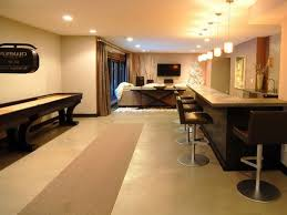 home design beige carpet runner on tile flooring and modern bar