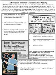 new deal great depression primary source analysis tpt
