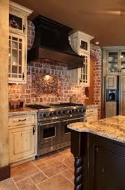 kitchen with brick backsplash brick wall ideas ideas rustic kitchen cabinet set design ideas