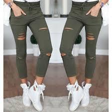 Black Skinny Jeans With Holes New 2016 Skinny Jeans Women Denim Pants Holes Destroyed Knee