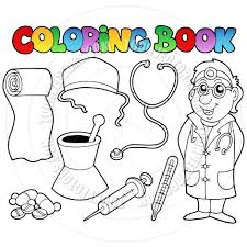 cartoon coloring book medical collection by clairev toon vectors