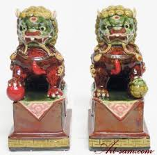 foo dog lion feng shui fu foo dog lions ceramic statue figurine pair