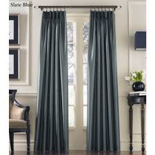 Black And Gray Curtains Marquee Flared Faux Silk Pinch Pleat Curtain Panels