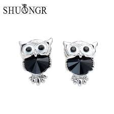 owl stud earrings shuangr brand jewelry owl stud earrings for women vintage