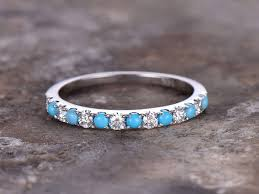 silver wedding band half eternity turquoise ring 925 sterling silver wedding band