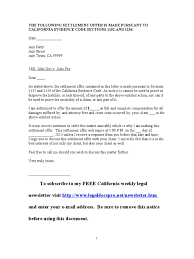 How To Write A Letter Of Attorney by Sample California Settlement Offer Letter