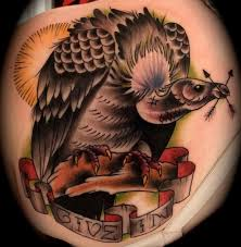 vulture traditional tattoo brent olson art junkies tattoo by brent