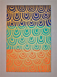 peach navy turquoise color block and gold scales pattern painting