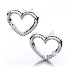 heart shaped diamond earrings set hearts diamond earrings in 18k white gold si h i