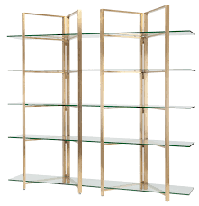 gold room divider shelving unit in gold stainless steel with tempered glass by nuevo