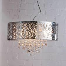 pendant ceiling light dual mount drum 9 bulb chrome