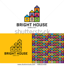 pattern block house template bright house logo design template vector stock photo photo vector