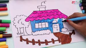 learning colors with house and tree drawing house coloring