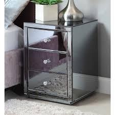 Mirrored Bedroom Furniture Uk by Vegas Smoke Mirrored Bedside Tables U0026 Tallboy Package Mirror