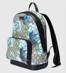 bloom backpack must accessories 2016 gucci blue gg blooms printed backpack