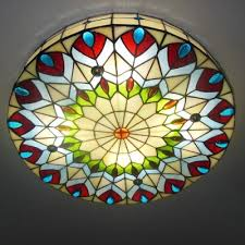 Yellow Glass Ceiling Light Fashion Style Flush Mount Ceiling Light Tiffany Lights