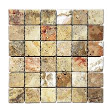 Kitchen Backsplash Samples Scabos 2 X 2 Tumbled Travertine Mosaic Tile 6 X 6 Sample