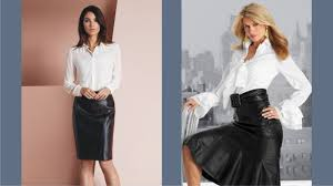 leather blouse leather skirt white blouse