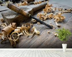 woodworking tools with wooden shavings wallpaper wall mural