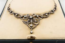 diamond box necklace images Edwardian silver over gold diamond necklace in original box for jpg