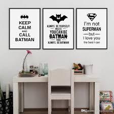 Kids Room Prints by 2017 Black White Superhero Batman Typography Quotes Art Prints