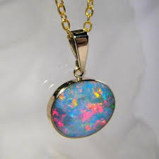 opal australia necklace images 7 3ct 14k gold genuine natural australian opal pendant inlay jpg