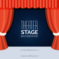 Stage With Curtains Flat Background Of Theater Stage With Red Curtains Vector Free
