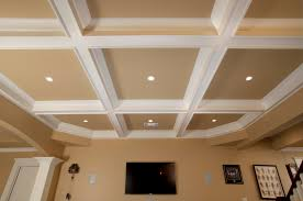 Tv On Wall Ideas by Ceiling Stunning Coffered Ceiling In White And Tan With Lights