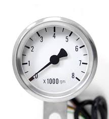 mini electronic tachometer with white interface for harley