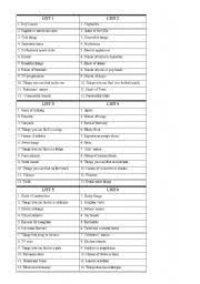 esl worksheets for beginners scattergories