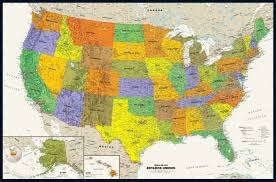 United States Canada Map by Contemporary Spanish Language Usa Wall Map