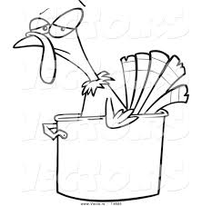 vector of a cartoon turkey bird in a pot coloring page outline