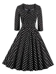 retro sweetheart neck polka dot printed swing flare dress polka