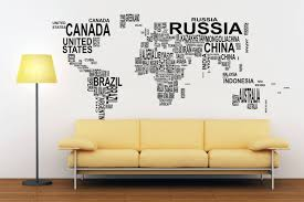 typography world map decals for home decor lettering usa
