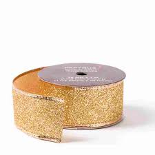 wired ribbon 1 1 2 gold glitter wired ribbon