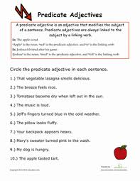 predicate adjectives grammar worksheets third grade and worksheets