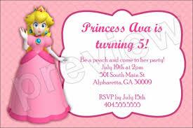 princess peach birthday party invitation super mario