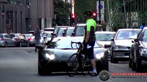 lamborghini bicycle cyclist sabotages lamborghini aventador youtube