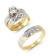 two tone wedding rings 14k two tone gold cubic zirconia flower wedding rings trio sets