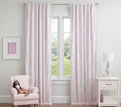 Pink Flower Curtains Sweet Flower Flocked Blackout Panel Pottery Barn Kids