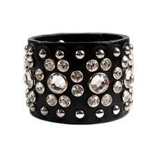 leather bracelet with swarovski crystal images Impero london swarovski crystal floral design leather cuff jpg