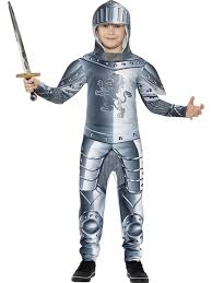 boys silver knight armoured costume king arthur kids fancy dress