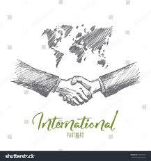 vector hand drawn international partnership sketch stock vector